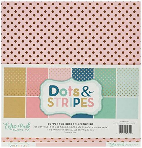 Echo Park Paper Company DS16037 Dots & Stripes Copper Foil 12x12 Collection Kit (Foil Dots)
