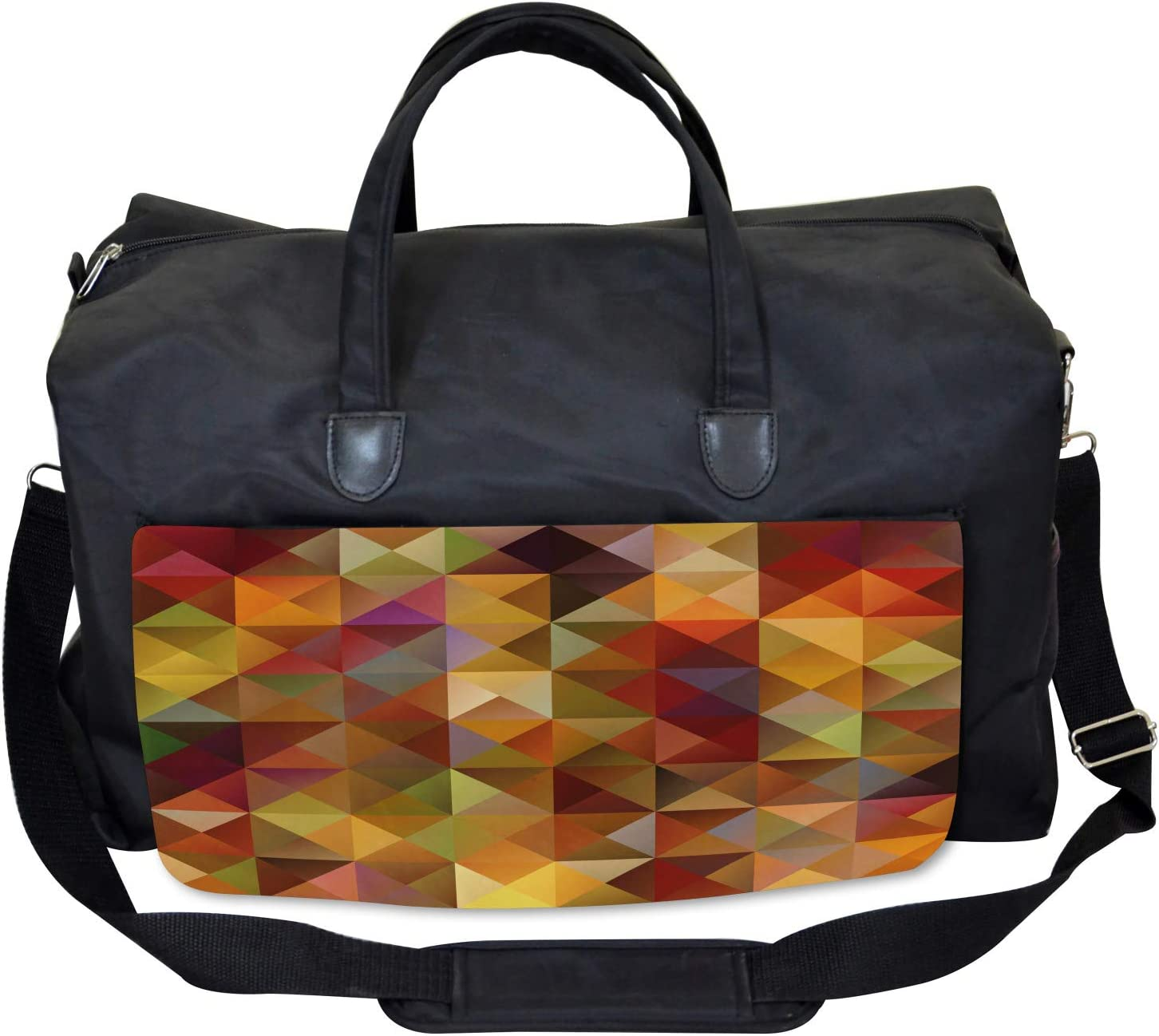Ambesonne Colorful Gym Bag Grid Mosaic Geometric Large Weekender Carry-on