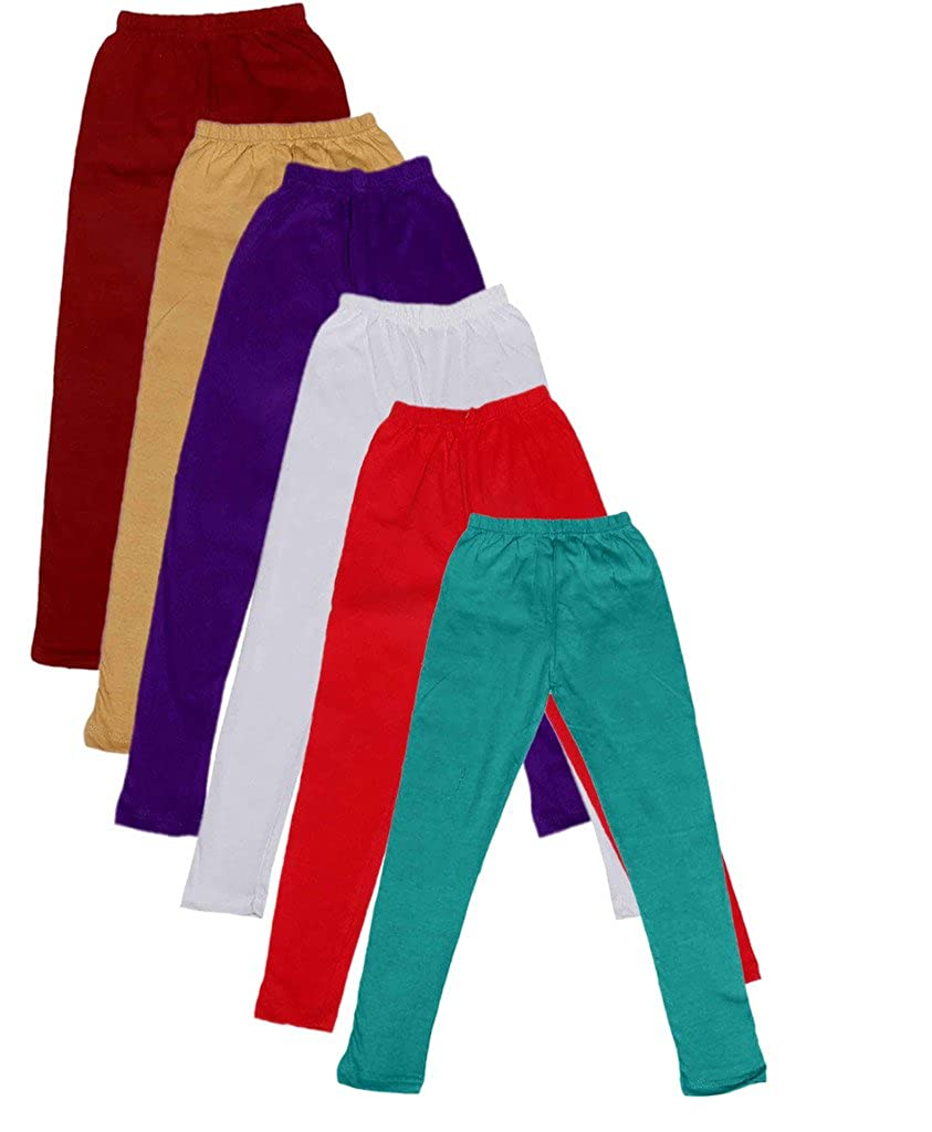 Indistar Big Girls Cotton Full Ankle Length Solid Leggings Pack of 6 -Multiple Colors-15-16 Years