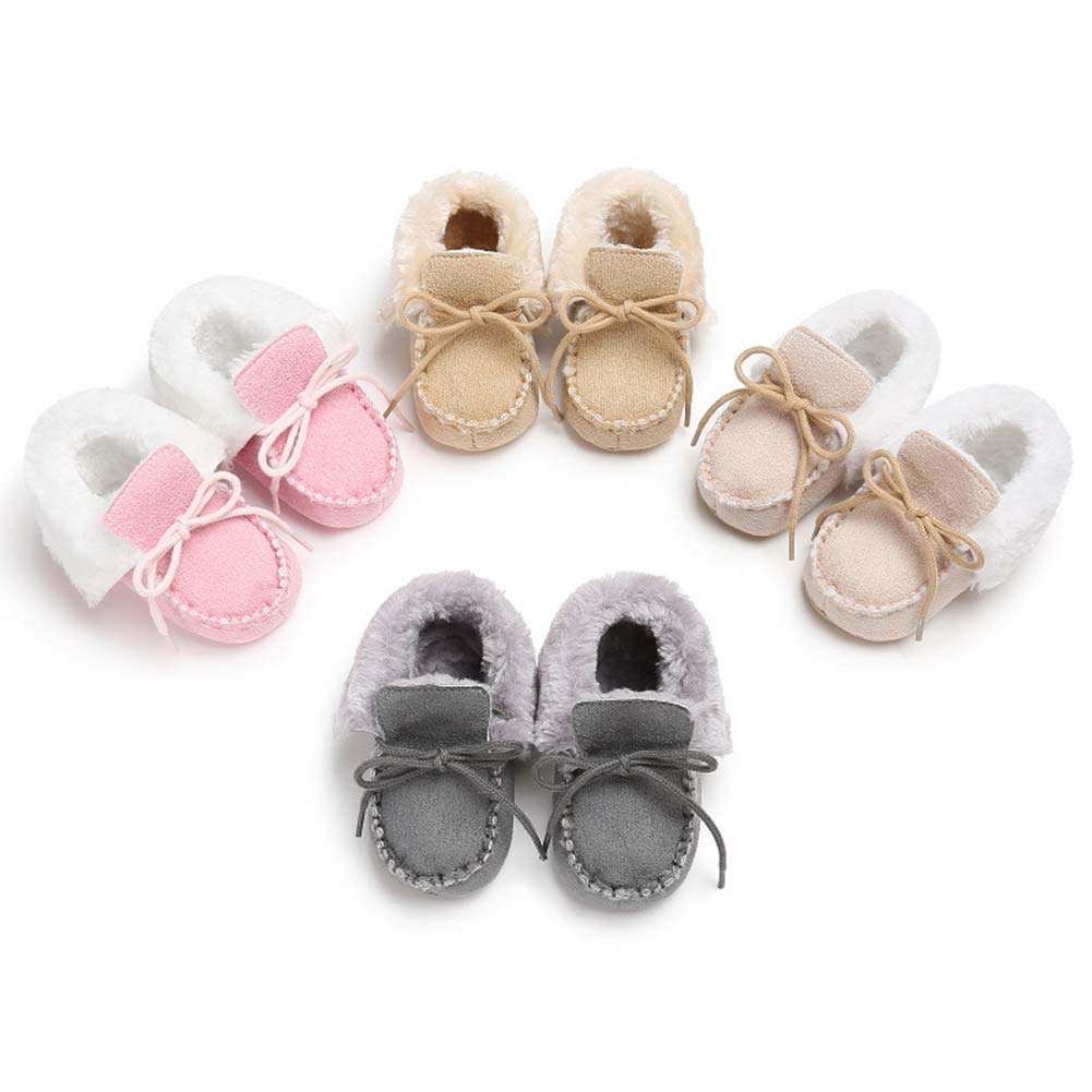 Alamana Lace-up Infant Baby Soft Sole Warm Winter Anti-Slip Prewalker Toddler Shoes Pink 12cm