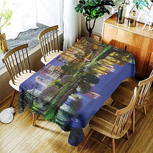 XXANS Waterproof Table Cover,City,North Carolina Marshall Park United States American Night Reflections on Lake Photo,Party Decorations Table Cover Cloth,W60X90L Multicolor -
