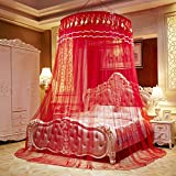 cheerfullus Round Dome Bed Canopy Netting Princess Mosquito Net - Splendid Rose (Red)