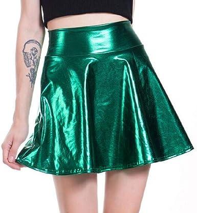 Domple Mini Falda holográfica para Mujer, Plisada, Brillante ...