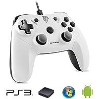 Manette PS3 Fialire, EasySMX EG-C3071C Manette PC Dualshock-Fourni avec un Adaptateur-Compatir Playstation 3/PC//TV Box/Android Smartphone (Blanc)