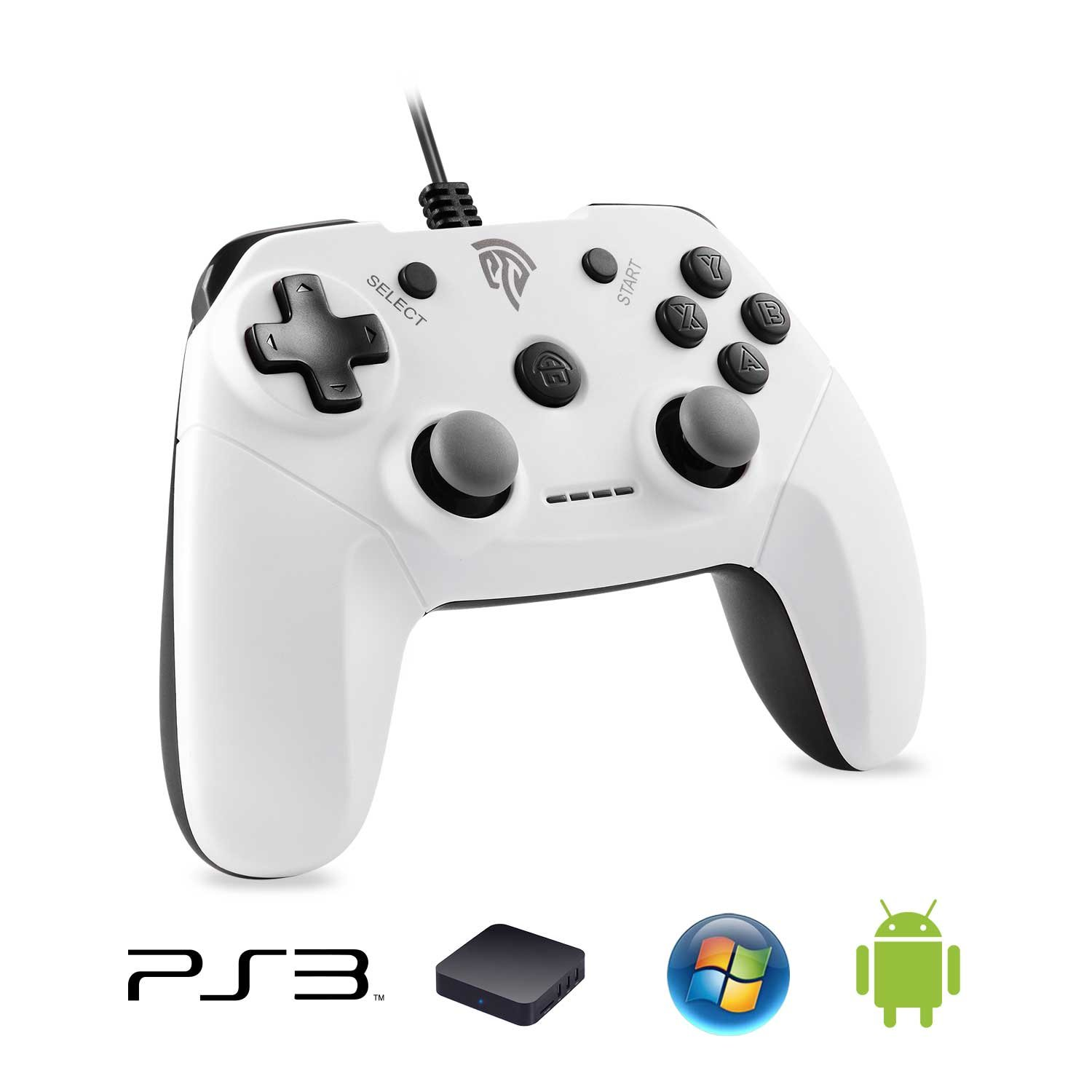 EasySMX PS3 Wired Gamepad for Microsoft 360 Game System Joystick with  Dual-Vibration TURBO and TRIGGER Buttons for PC Windows/Android/PS3/TV Box,  OTG