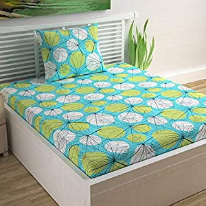Divine Casa Sense Cotton 104 TC Single Bedsheet with Pillow Cover – Floral, Turquoise Blue