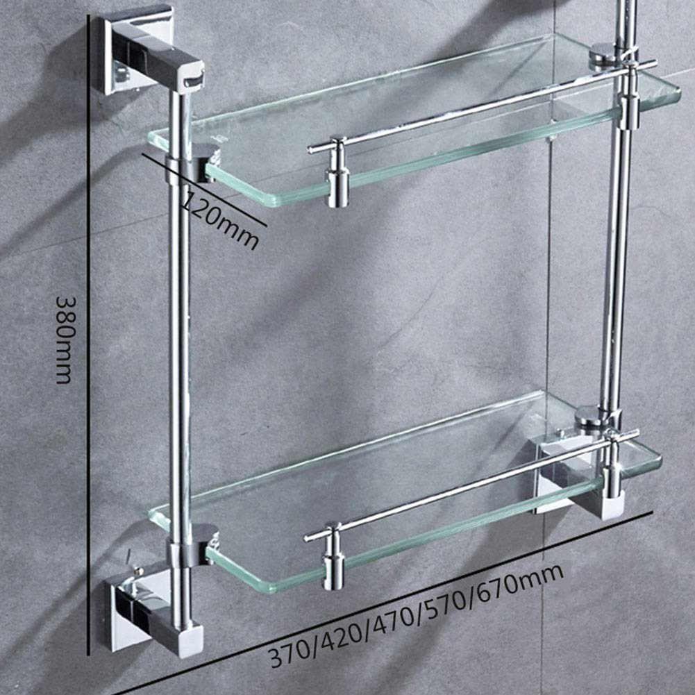 2nd Floor Bathroom Rack Set Brushed Nickel Wall-Mounted Storage Rack Rectangular Shelf for Kitchen Creative Bathroom Shelf Size : 57cm