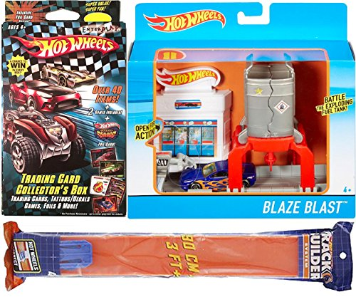 Hot Wheels Track Builder Card Pack + Blaze Blast Playset and bonus car & Stickers & Straight Race Pieces 3ft track system