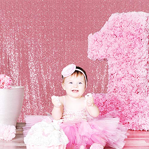 Poise3EHome 5FT x 7FT Sequin Photography Backdrop Curtain for Party Decoration, Fuchsia Pink