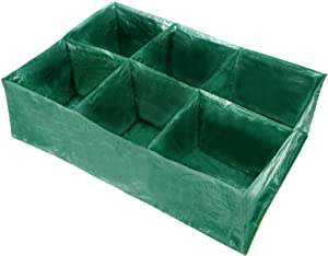 DYC 2PCS Divided Raised Garden Planting Bed- 6 Divided Grids Large Gardening Bag, Rectangle Breathable Plant Container,Grow Bag Planter Pot Box for Herb Flower Vegetable