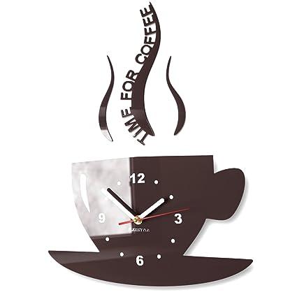 Orologio da parete per cucina, a forma di tazza Dark brown (wenge)