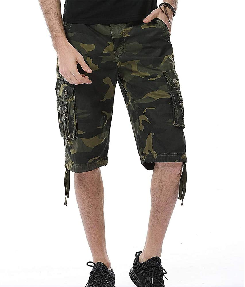 AOYOG Mens Cotton Camouflage Relaxed Fit Outdoor Camo Cargo Shorts