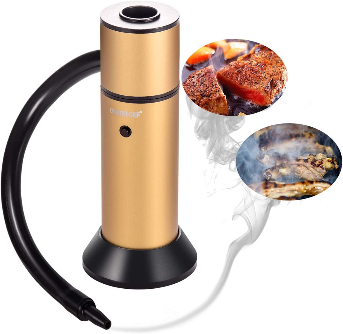 TMKEFFC Smoker Gun Smoke Infuser Food Smoker Meat Salmon Sausage Meat Smoker Hand-held Portable +Smoking Wood Chips for Smoking Food on BBQ