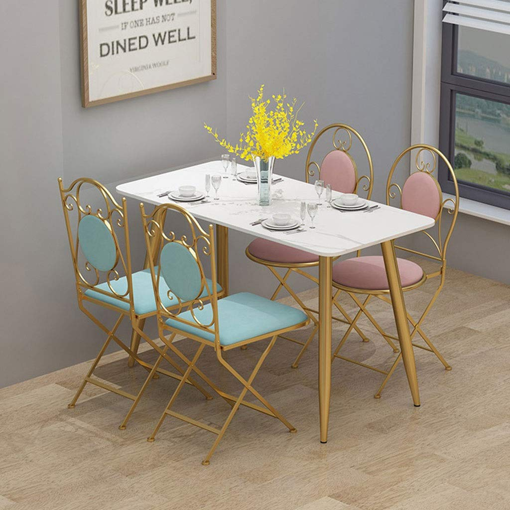 XIAOLI 2 st nordisk kreativ hopfällbar flanell matstol guld smidesjärn rund stol kaffe vardagsrum stol morgonstol (färg: Mörkgrön) Ljusblått
