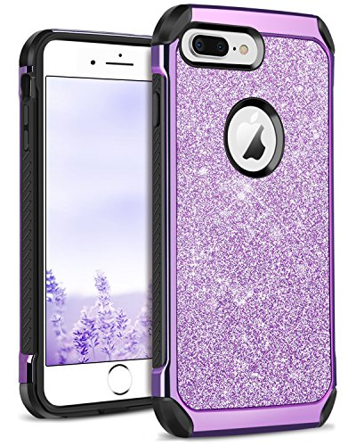 DOMAVER iPhone 8 Plus Case Sparkly Glitter 2 in 1 Slim Hybrid Hard PC Cover with Shiny Leather Shockproof Protective Phone Case for iPhone 8 Plus, Purple