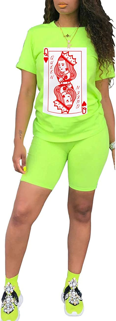 Casual Printing Short Sleeve Tracksuit Bodycon Biker Shorts Jogging Sportswear Athletic Sets for Yoga Exercise ECHOINE 2 Piece Outfit for Women