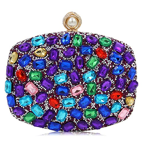 Women Evening Bag Diamond Clutches Crystal Clutch Purse Handbags For Wedding (Multicoloured Purple) by Mystic River