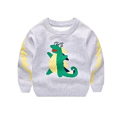 Abolai Unisex Children Cute Dinosaur Pattern Sweater Cardigan Jumper