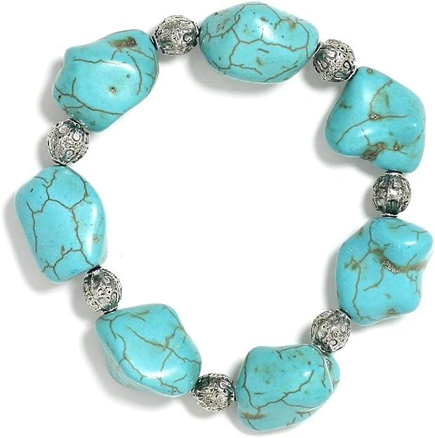Turquiose Howlite Elastic Cuff Bracelet USA