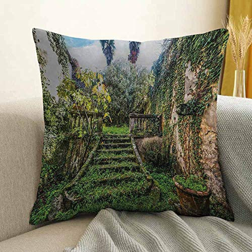 (Nature Silky Pillowcase Ancient Fairytale Theme Hidden Garden with Botanic Trees Flowers Ivy Image Print Super Soft and Luxurious Pillowcase W18 x L18 Inch Multicolor)