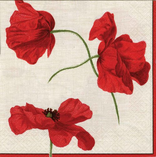 Entertaining with Caspari Dancing Poppies Paper Luncheon Napkins, Ivory, Pack of 20 ()