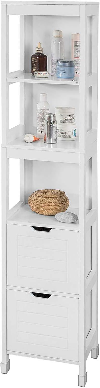 SoBuy Mueble Columna de Baño, Armario para Baño Alto,Estanterías de Baño-2 Puertas y 1 Cajón,FRG126-W,ES (Blanco)