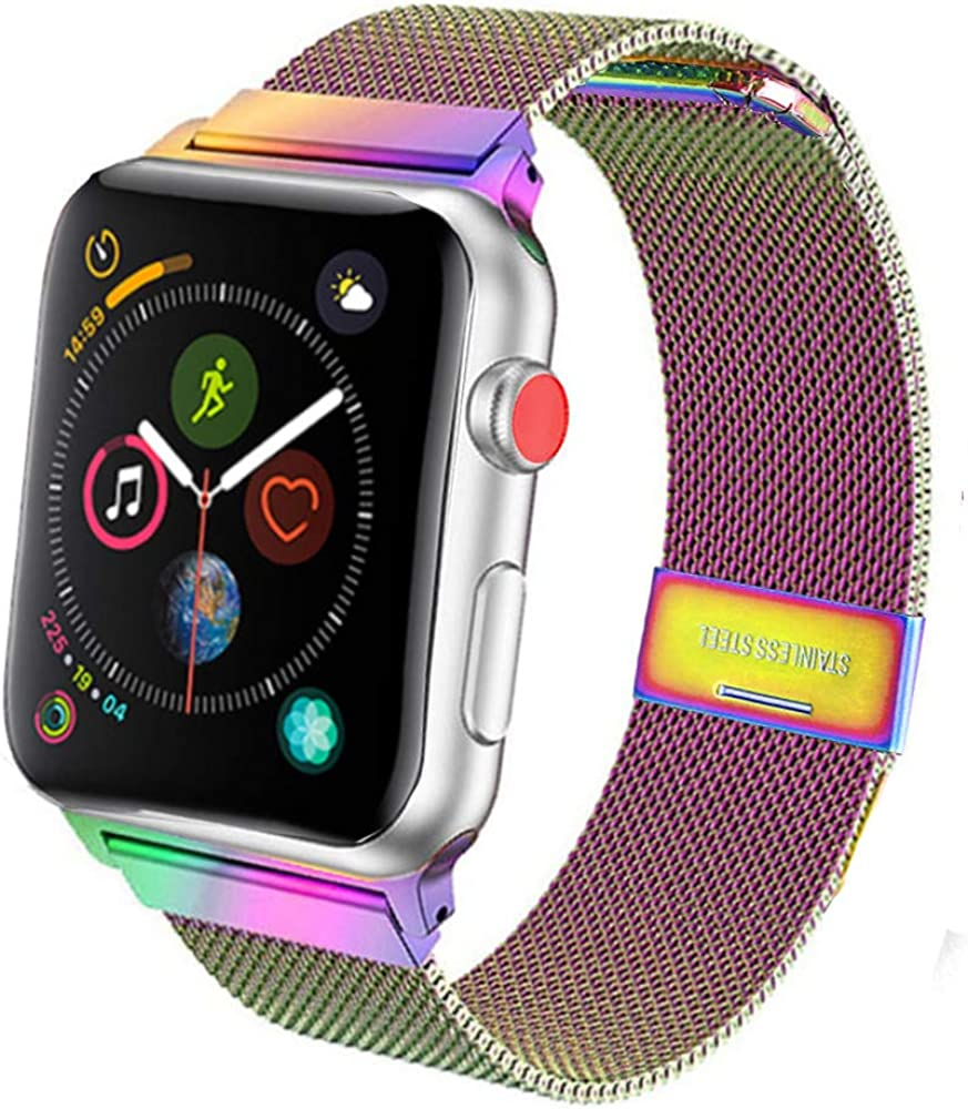 SPINYE Band Compatible for iWatch 38mm 42mm 40mm 44mm, Stainless Steel Metal Mesh Replacement Strap for Apple Watch Series 5 / 4 / 3 / 2 Women Men, if Applicable (42/44mm, Rainbow)