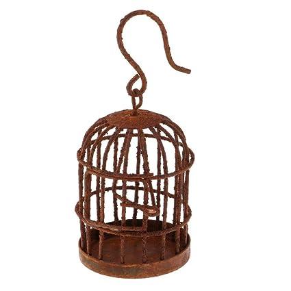 Pequeña decoración de jardín casa de muñecas Jaula de pájaros ...