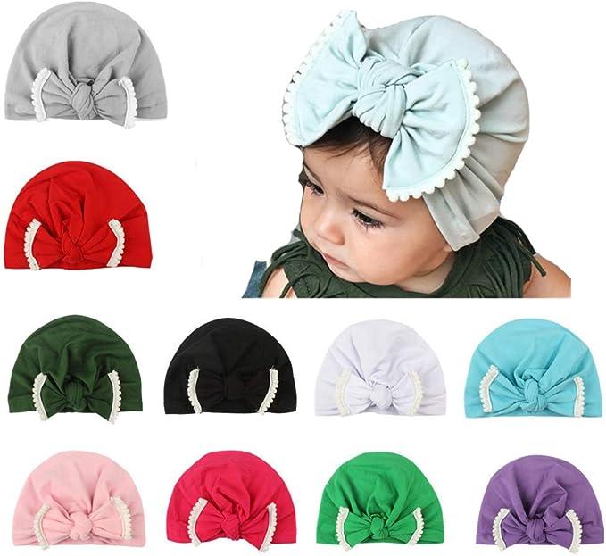 Cotton Baby Bow Headband Set Girl Soft Turban Knot Rabbit Headwrap Hospital Hat