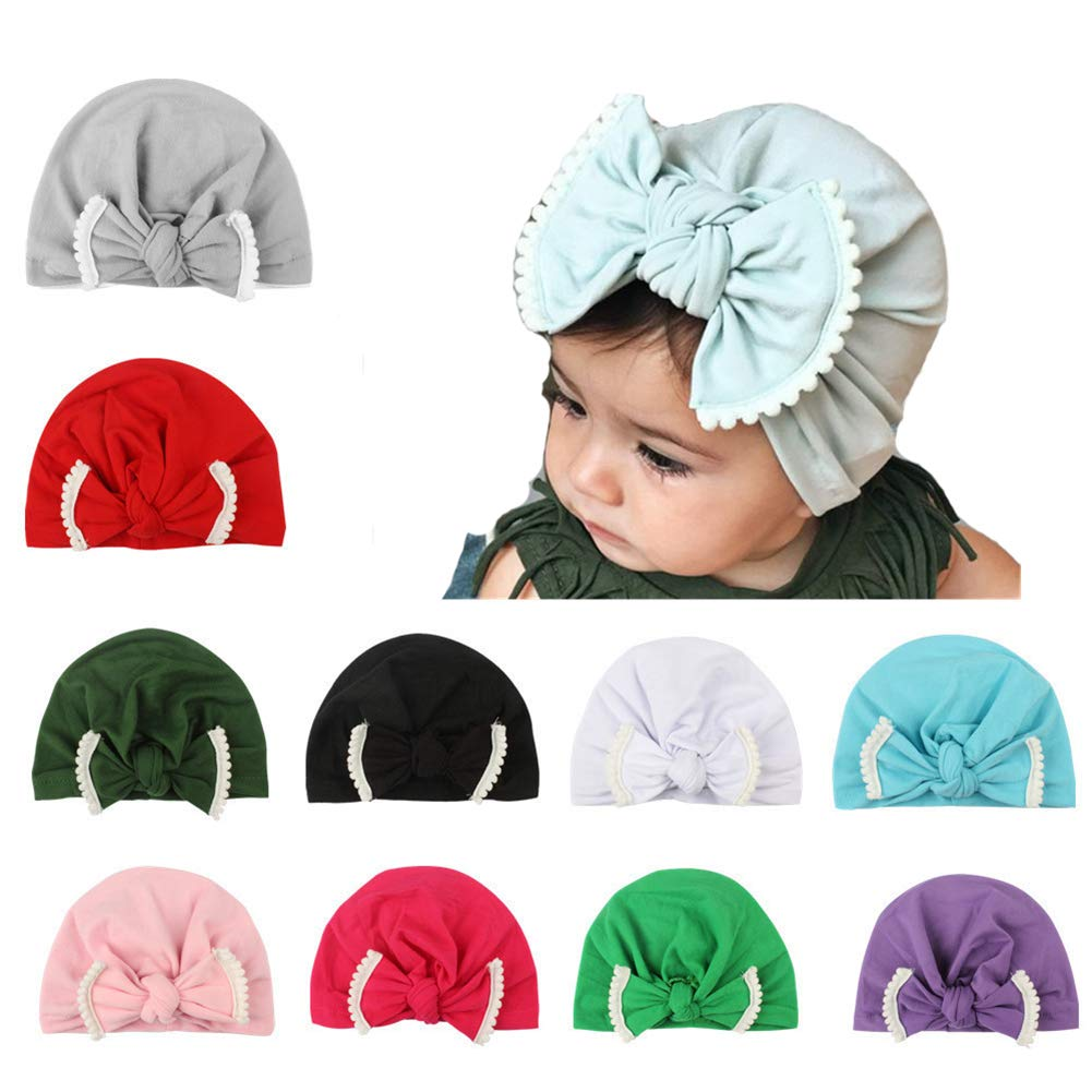 Udolove Baby Headband Set- Girl Soft Turban Knot Rabbit Headwrap Hospital Hat