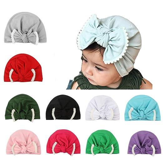 Udolove Baby Headband Set- Girl Soft Turban Knot Rabbit Headwrap Hospital  Hat (10pcs Bow 08f58bc4de19