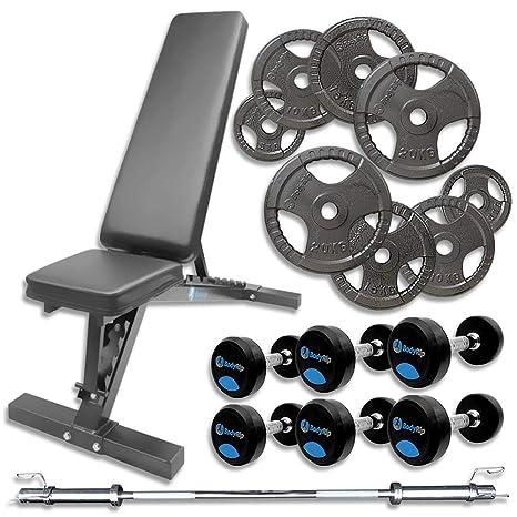 """BodyRip – Plato de peso banco de ejercicio pesas olímpico de mancuernas 2 """"255"""