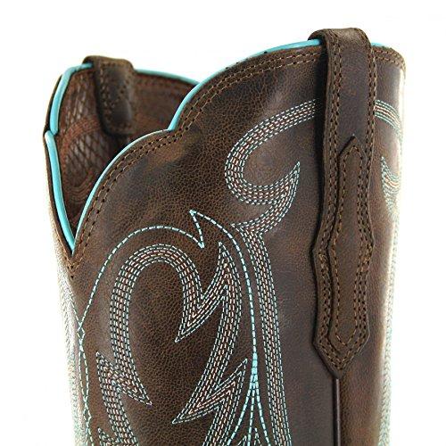 Fb Moda Stivali Ariat Round Up Rinnegato 21581 Marrone / Damen Westernreitstiefel Braun / Westernstiefel / Reitstiefel / Western Stivali Da Equitazione Marrone