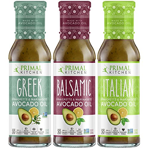 Primal Kitchen Avocado Oil 3 Pack Vinaigrette Dressing & Marinade (Greek, Balsamic, Italian, 3 Count)