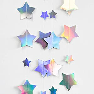 Holographic Big Star Party Decorations Hanging Iridescent Stars Garlands for Birthday Party Decor Rainbow Star Banner for Unicorn Theme Starry Night Baby Shower Wedding Kids Party Paper Streamer