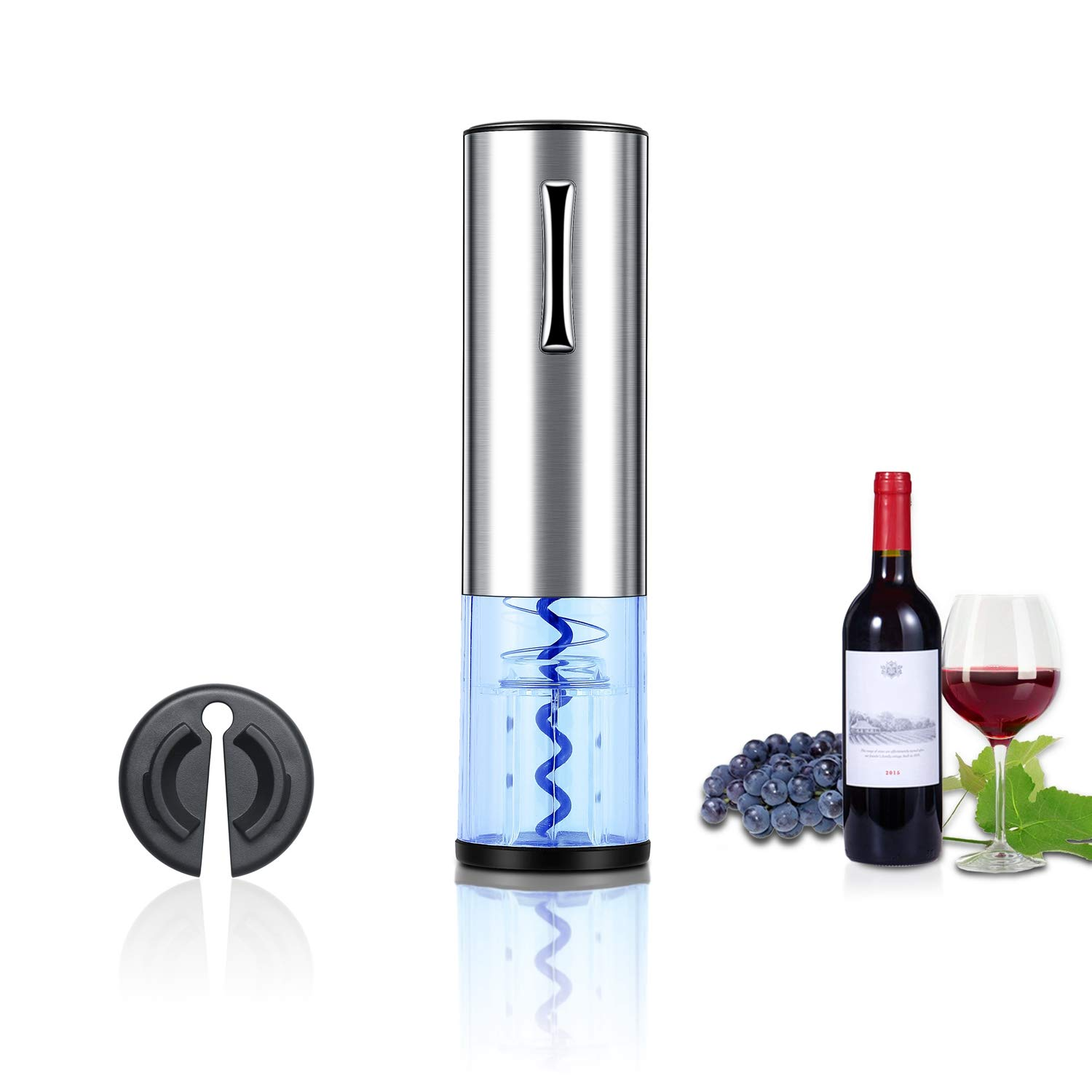 Electric Wine Bottle Opener, Gorgeous Tec Rechargeable Electric Corkscrew Wine Opener With USB Charging Cable Foil Cutter Led Light for Home, Winery, Party and As Gift--Stainless Steel