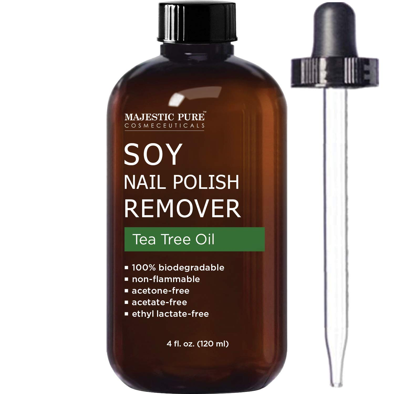 MAJESTIC PURE Soy Nail Polish Remover - Natural Acetone Free for Fingernail - Infused with Tea Tree Oil - Safe, Healthy, Gentle, Strengthening and Non Toxic - 4 fl oz by Majestic Pure