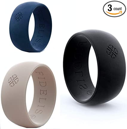 Silicone Ring Rubber Wedding Band Athletic Black Blue Grey Men