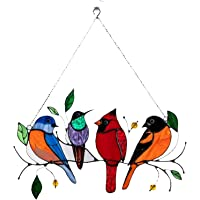 Multicolor Birds on a Wire High Stained Glass Suncatcher Window Panel Pendant, Bird Series Ornaments Pendant Home Decor…