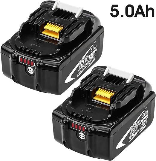 2X BL1850B 5,0Ah Lithium Remplacement pour Makita Batterie 18V BL1860B BL1850B BL1840 BL1830 BL1820 BL1815 BL1825 BL1835 BL1845 LXT-400 avec LED indicateur