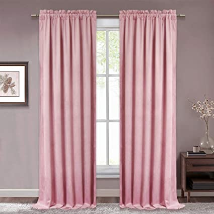 RYB HOME Bedroom Curtain Panels - Velvet Blackout Curtains Romantic Drapes  for Girls Room/Nursery, Insulated & Soundpfoof Curtains for Nursery/Kids,  ...