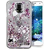 Galaxy S5 Cover Samsung Galaxy S5 Cover for Girls EMAXELER 3D Creative Design Angel Girl Flowing Liquid Floating Bling Shiny Liquid PC Hard Cover for Samsung Galaxy S5 Silver White Dandelion