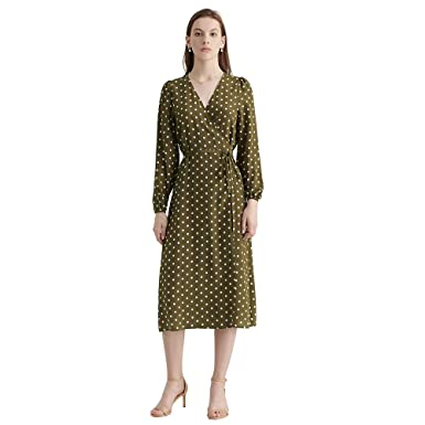 LILYSILK Wrap Silk Dress for Womens and Ladies Polka Dot Maxi Long Sleeve Vintage V Neck