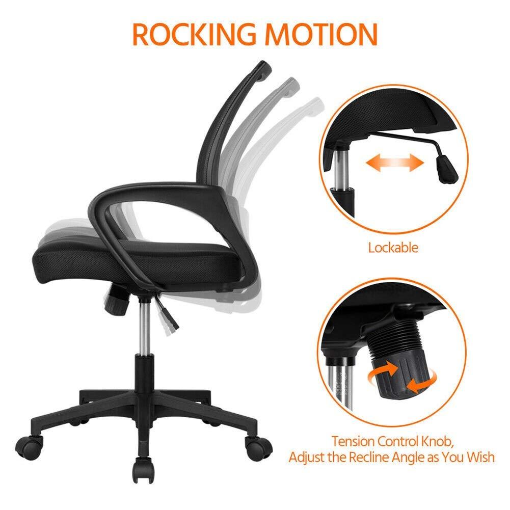 HLR kontorsstol skrivbordsstol justerbar ergonomisk nät svängbar dator kontor skrivbord uppgift stol mitt på baksidan lätt att montera (färg: Blå # 2) gRÖN