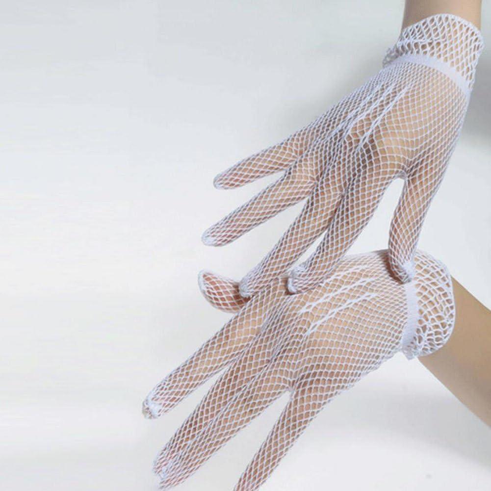 Doitsa 1 Paire Saison D/ét/é Protection Contre Le Soleil Gants Tricot/és en Nylon Petite Grille Gants pour Mariage//Danse Blanc