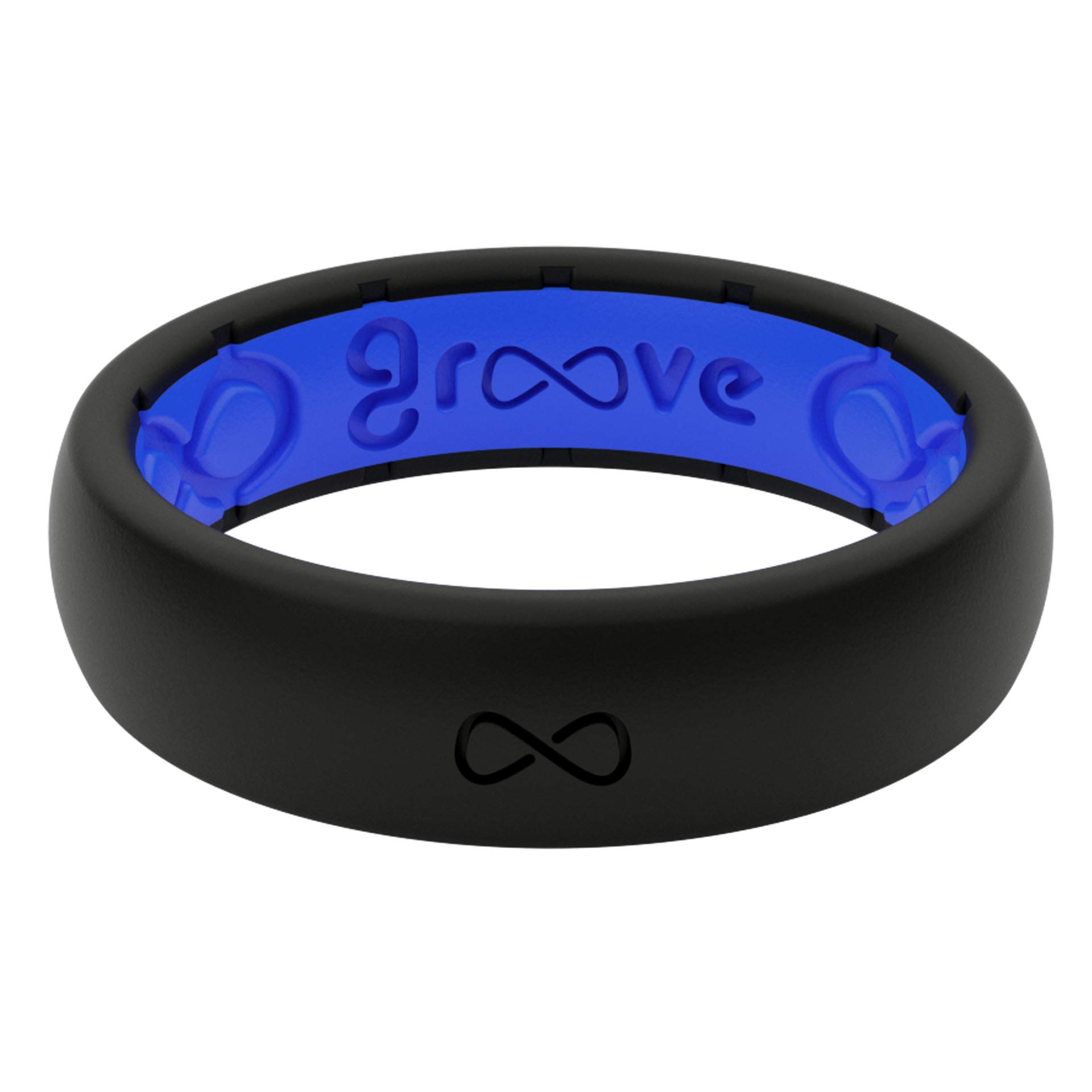 Groove Life - Silicone Ring for Men and for Women Wedding or Engagement Rubber Band with, Breathable Grooves, and Durability - Thin Solid Midnight Black/Deep Blue Size 4