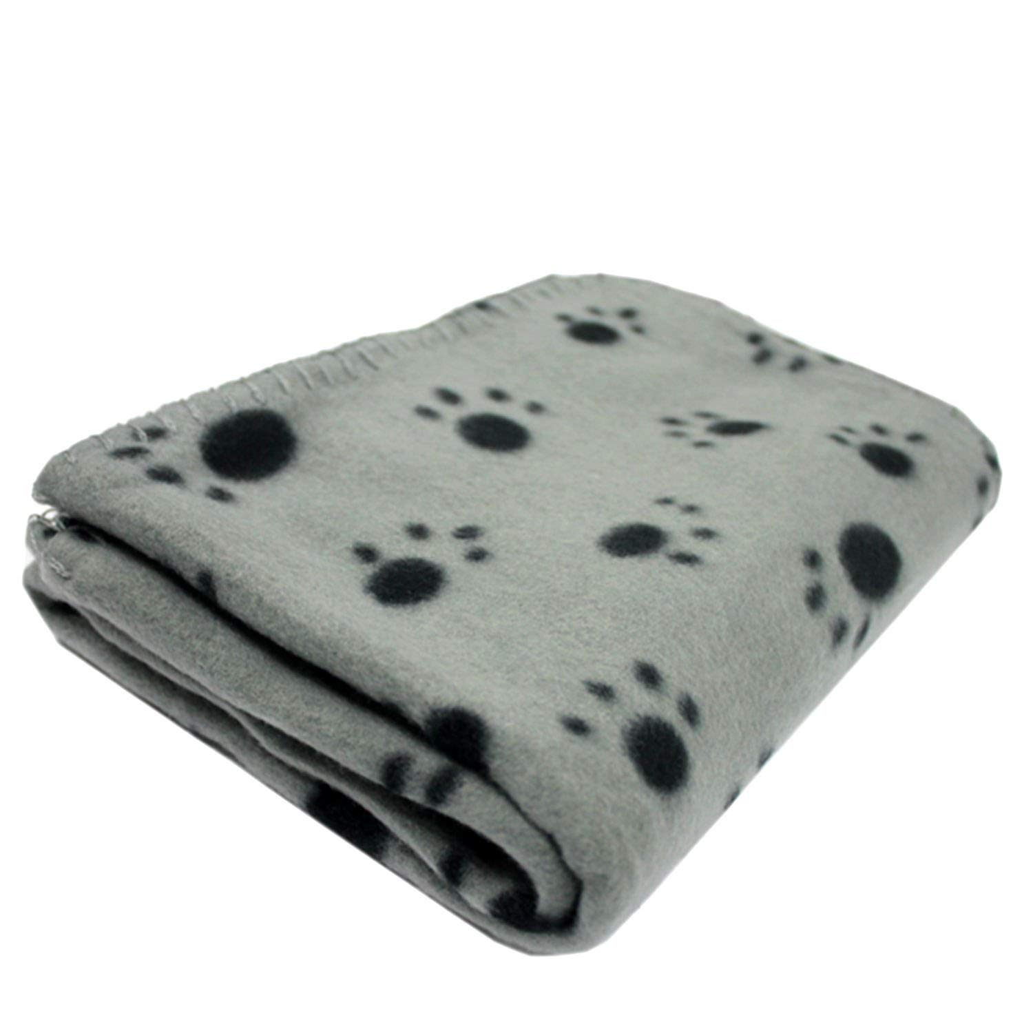 CFHJN HOME Soft Fleece Pet Blanket for Cat and Dog Paw Printed Small and Medium (60x70cm, Grey) Pet Bed Blanket