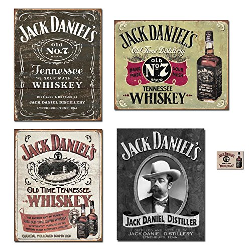 Bundle: Jack Daniels Sign Decor - Jack Daniels Logo Tin Sign, Jack Daniels Hand Made Tin Sign, Jack Daniels Sippin Whiskey Tin Sign, Jack Daniels Portrait Tin Sign and Jack Daniels Magnet