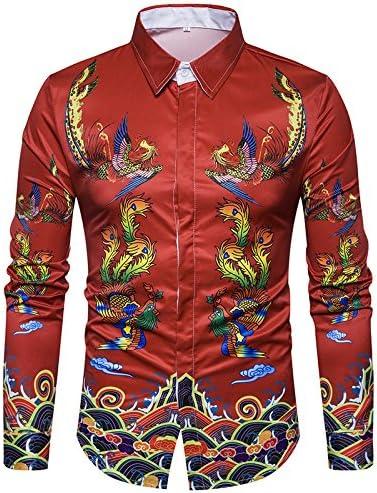 YISDBJ Camisa de Vestir para Hombre Fénix Vintage de Estilo Chino de Rendimiento Estampada de Manga Larga Camisa Casual Elegante Floral Tops Patrón único,XXL: Amazon.es: Deportes y aire libre