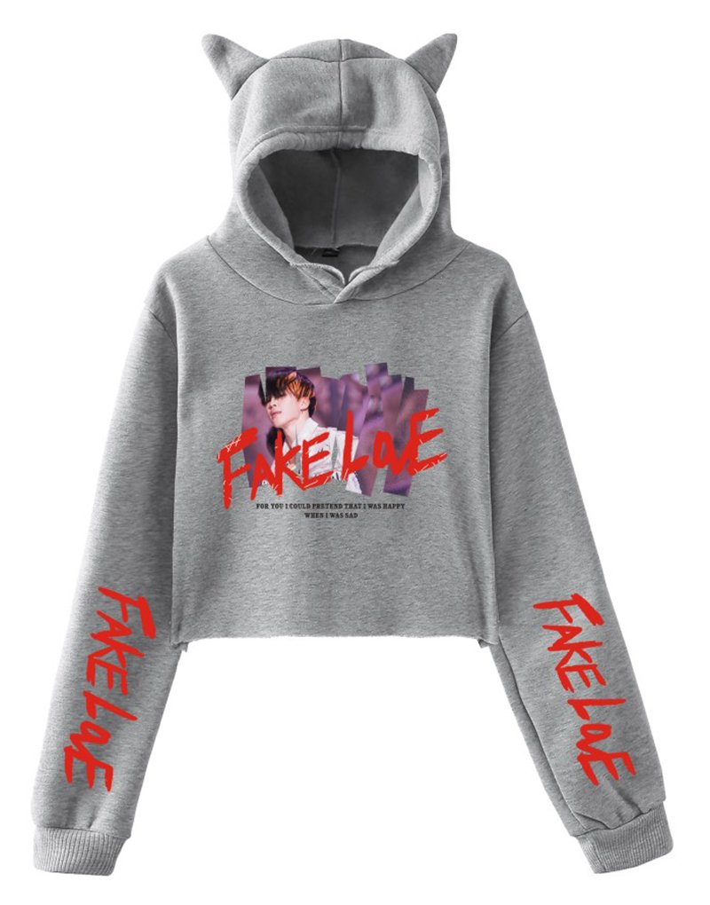 EmilyLe Women's Girls' BTS Hoodies Fake Love Crop Top Sweatshirt for Army Jin Suga J-Hope Rap Monster Jimin V Jung Kook (XXS,Grey)